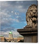 Lion Sculpture In Budapest Canvas Print