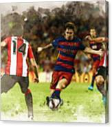 Lionel Messi Challenges The Athletic Bilbao Defense Canvas Print