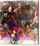 Lionel Messi  Fights For The Ball Canvas Print