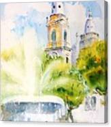 Lions Fountain Plaza Las Delicias  Ponce Cathedral Puerto Rico Canvas Print