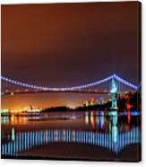 Lions Gate Bridge At Night 2 Canvas Print