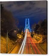 Lions Gate Bridge Light Trails Canvas Print