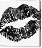 Lips-black Canvas Print