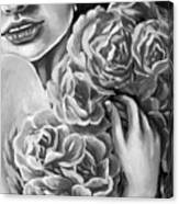 Lips Of Love Black And White Canvas Print