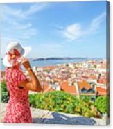 Lisbon Castle Woman Canvas Print