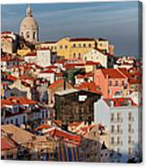 Lisbon Cityscape In Portugal At Sunset Canvas Print