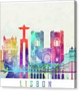 Lisbon Landmarks Watercolor Poster Canvas Print