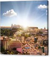 Lisbon Panoramic View To Afama Canvas Print