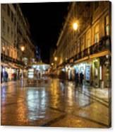 Lisbon Portugal Night Magic - Nighttime Shopping In Baixa Pombalina Canvas Print