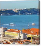 Lisbon Tagus River Skyline Canvas Print