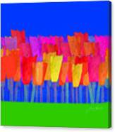 Lisse - Tulips Blue On Green Canvas Print