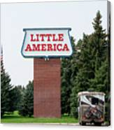 Little America Hotel Signage Vertical Canvas Print