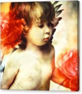 Little Angel With Rose Canvas Print