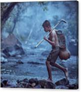 Little Asian Kid Fishing In The River Countryside Thailand. Canvas Print