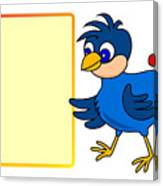 Little Bird With Message Board Canvas Print