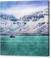 Little Boat In Reykjavik Bay Canvas Print
