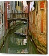 Little Boat On Canal In Venice Canvas Print