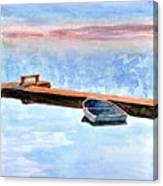 Little Boat On Foggy Lake II Canvas Print