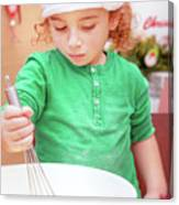 Little Boy Making Christmas Cookies Canvas Print
