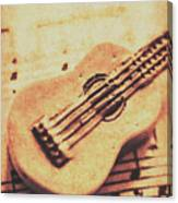 Little Carved Guitar On Sheet Music Canvas Print