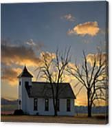 Little Church On The Prairie Canvas Print