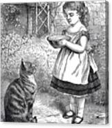 Little Girl Gives Her Cat Its Dinner Canvas Print