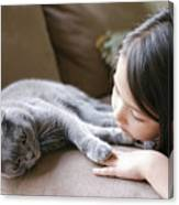Little Girl Hanging Out With Her Scottish Fold Cat Canvas Print