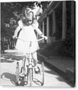 Little Girl On Vintage Bike Canvas Print