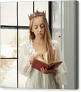 Little Girl Reading Book Canvas Print