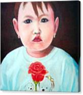 Little Girl With Rose Canvas Print