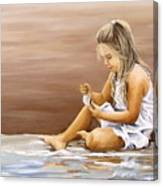 Little Girl With Sea Shell Canvas Print