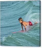 Little Guy Big Wave Canvas Print