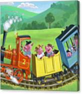 Little Happy Pigs On Train Journey Canvas Print