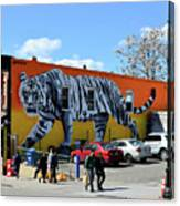 Little India In Jersey City-white Tiger Mural Canvas Print