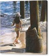 Little Jessica And Her Hat Malibu Pier  Canvas Print