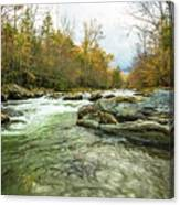 Little Pigeon River Greenbrier Area Of Smoky Mountains Canvas Print