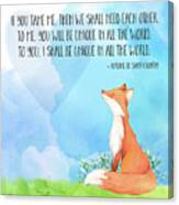 Little Prince Fox Quote, Text Art Canvas Print