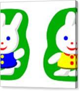 Little Rabbit Boy And Rabbit Girl Canvas Print