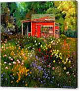 Little Red Flower Shed Canvas Print