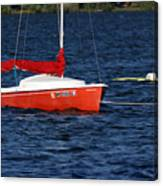 Little Red Sailboat Canvas Print
