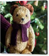 Little Sweet Teddy Bear With Knitted Scarf Under The Christmas Tree Canvas Print