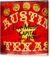 Live Music Mural Of Austin Canvas Print