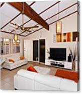 Living Room With Sloping Ceiling Canvas Print