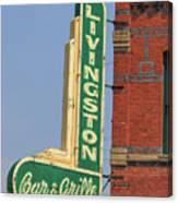 Livingston Bar And Grill Old Neon Sign Montana Canvas Print