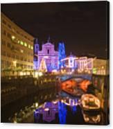 Ljubljana At Christmas Canvas Print