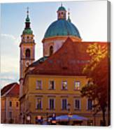 Ljubljana Church And Square Sunset View Canvas Print