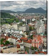 Ljubljana Slovenia With Karawanks, Kamnik Savinja, Limestone Alp Canvas Print