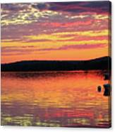 Loan Boat On A River At Sunset Canvas Print