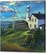 Lobster Cove Head Lighthouse, Rocky Harbour, Nl Canvas Print