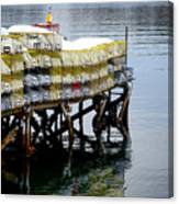 Lobster Traps In Winter Canvas Print